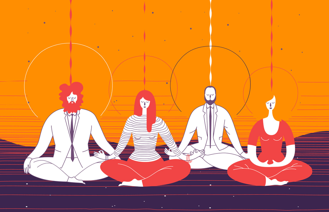 Four office workers sitting down together doing mindfulness meditation