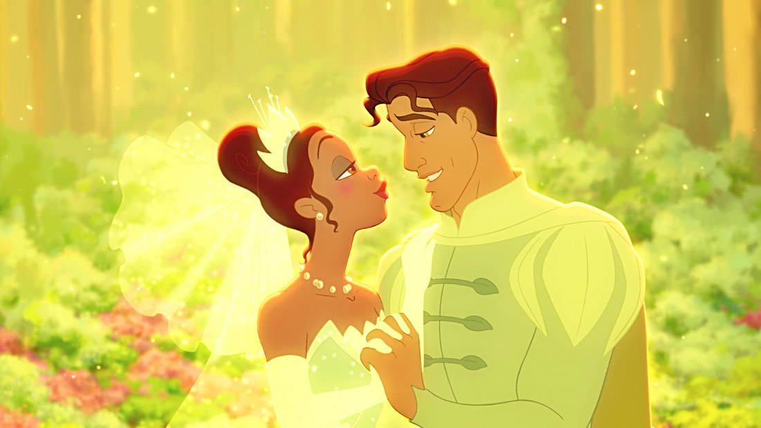 Princess Tiana and Prince Naveen gazing at each other with love